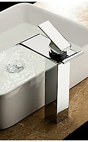 eigentijdse verchroomde afwerking waterval badkamer wastafel kraan (hoog)