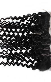 Реми бразильский девственной человеческого кружева волосы фронтальной закрытие 1b 120% 13x4 дюймов глубокая волна сверху кружева
