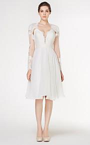 robe de mariée une ligne - - de lanting ivoire genou chérie mousseline / dentelle