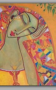 HANDMÅLAD Människor Vertikal,Klassisk En panel Kanvas Hang målad oljemålning For Hem-dekoration