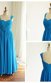 Floor-length Chiffon Bridesmaid Dress - Pool A-line Straps