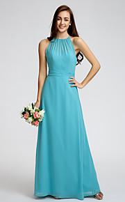 Lan Ting Ankle-length Georgette Bridesmaid Dress - Pool Sheath/Column Jewel