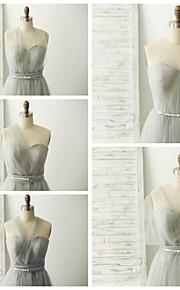 Floor-length Tulle Bridesmaid Dress - Silver A-line Sweetheart