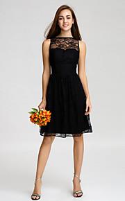 Lan Ting Knee-length Lace Bridesmaid Dress - Black A-line Bateau
