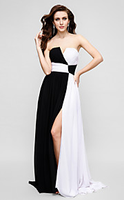 TS Couture® Formal Evening Dress A-line Strapless Sweep / Brush Train Chiffon with Criss Cross