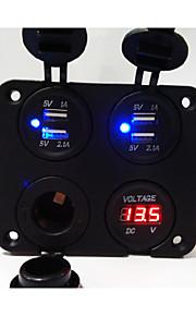 de nieuwe! 4 hole panel nieuw ontworpen dual usb auto-oplader socket / voltmeter / stopcontact / sigarettenaansteker