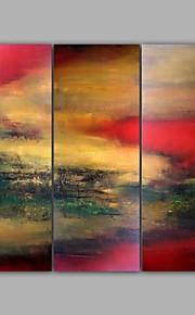 Håndmalte LandskapModerne Tre Paneler Lerret Hang malte oljemaleri For Hjem Dekor