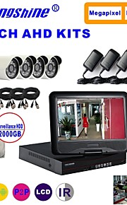 strongshine® ahd camera met 720p / infrarood / waterdicht en 4ch ahd dvr met 10,1 inch lcd / 1TB surveillance hdd kits