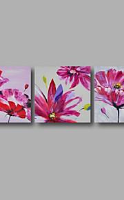 """72 """"X24""""세 개의 패널 캔버스 벽 예술 핑크 장미 꽃 그림을 뻗어 손으로 그린 오일을 걸 준비"""