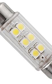 førte bil interiør lys 12v hvid 6 SMD lysdioder bil dome guirlande pære lampe 39mm (2 stk)