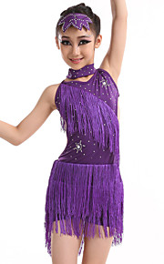 Latin Dance Dresses Children's Performance Spandex / Sequined / Milk Fiber Tassel(s) 5 Pieces Headpieces / Dress / Neckwear / Bracelets