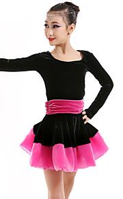 Latin Dance Dresses Children's Performance Velvet Draped 1 Piece Fuchsia / Green Latin Dance Dress