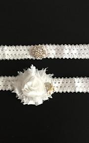 Garter Nylon Flower / Lace White