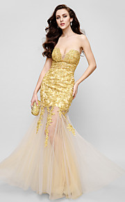 TS Couture® Formal Evening Dress Fit & Flare Strapless Floor-length Lace / Tulle with Appliques / Lace