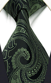 Men's Tie Olive Paisley  Fashion 100% Silk  Business