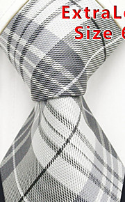 Men's Tie  Checked  Gray 100% Silk Business New  Fashion Casual Long