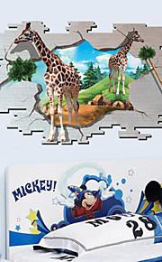 Giraffe Animals / Cartoon Wall Stickers 3D Wall Stickers,PVC 90*60cm