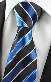 KissTies Men's Fashion Striped Blue Black Microfiber Tie Necktie For Wedding Holiday With Gift Box