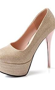 Красный / Серебристый / Золотистый-Женская обувь-Для праздника / Для вечеринки / ужина-Дерматин-На шпильке-На каблуках / На платформе / С