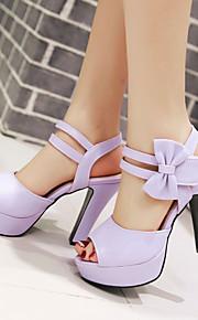 Черный / Розовый / Фиолетовый / Бежевый-Женская обувь-Для прогулок / Для праздника / На каждый день-Дерматин-На толстом каблуке-На