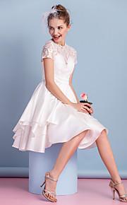 Lanting une ligne robe de mariée - ivoire genou col haut dentelle / charmeuse