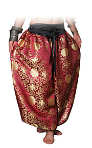 Belly Dance Bottoms Women's Performance Cotton Pattern/Print 1 Piece Gold / Burgundy