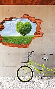 MJ8024F Removable Landscape Sea 3D Scenery Wall Sticker Plants Decor Decals Green Home