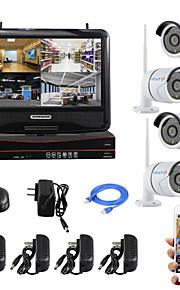 yanse® 10-inch scherm plug and play draadloze nvr kit p2p 720p HD IR nachtzicht beveiliging ip camera wifi CCTV-systeem