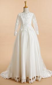 Lanting Bride A-vonalú Seprő uszály Virágoslány ruha - Csipke / Tüll Hosszú ujjú V-nyakkivágás val vel Rátétek