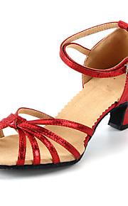 Sapatos de Dança(Preto / Azul / Vermelho / Prateado / Dourado) -Feminino-Personalizável-Latina