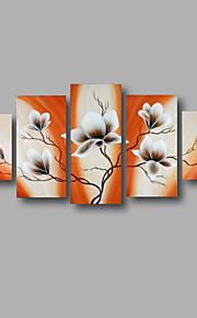 """estirada (listo para colgar) pintado a mano la pintura al óleo 60 """"x32"""" flores modernas pared de lona de arte anaranjado blanco"""