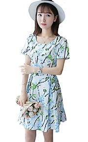 Women's Punk & Gothic Floral A Line Dress,Round Neck Above Knee Rayon / Polyester