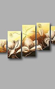 """estirada (listo para colgar) pintura al óleo pintado a mano 60 flores modernas """"x32"""" arte de la pared de tela color beige blanco"""