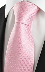 KissTies Men's Classic Pink Dot Microfiber Tie Necktie For Wedding Holiday Valentine With Gift Box