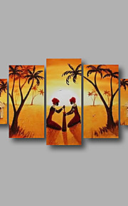 "Stretched (ready to hang) Hand-Painted Oil Painting 60""x32"" Canvas Wall Art Modern Abstract African Scenery"