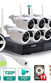 kit wi-fi 720p NVR zosi®8ch with1tb dia 1.0Mp wireless visão noturna camera ip à prova de intempéries disco rígido 8pcs