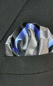 Men's Pocket Square Gray  Stripes 100% Silk Wedding Business