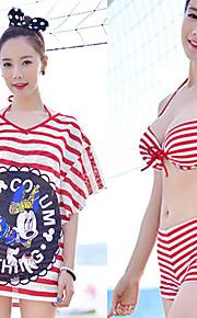 Women's Bandeau Bikinis / Multi-pieces / Cover-Ups,Color Block Padded Bras Chiffon / Cotton / Spandex Red / Black