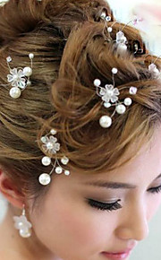 6 PCS Bride's Flower Shape Rhinestone Pearl Wedding Hair Clip Accessories