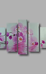 """estirada (listo para colgar) pintura al óleo pintado a mano 66 flores modernas """"x40"""" arte de la pared de la lona de la orquídea de color"""