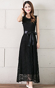 Women's Cute Solid Sheath / Lace Dress,Round Neck Maxi Polyester