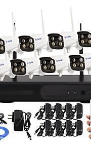 yanse® 8-kanaals wifi ip camera nvr kit 720p CCTV-camera's videcam indoor ir bewakingscamera zelfverdediging beveiligingscamera's