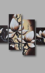 """klar til å henge strukket håndmalte oljemaleri 64 """"x44"""" lerret veggen kunst moderne blomster sort hvitt"""
