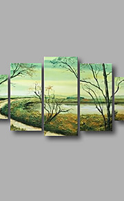 "Stretched (ready to hang) Hand-Painted Oil Painting 60""x32"" Canvas Wall Art Modern Abstract Forest Spring"