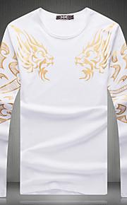 T-shirt Uomo Casual Con stampe Manica lunga Cotone
