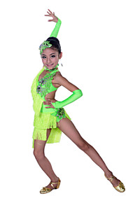 Latin Dance Children's Performance Spandex Rhinestones Tassels Irregular Dresses Dance Costumes