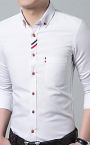 Camisa De los hombres Casual / Trabajo / Formal / Deporte Estampado-Algodón / Poliéster-Manga Larga