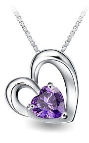 Romantic Women Wedding Jewelry Real Austrian Rhinestone Crystal Double Heart Pendant Amethyst Necklace Silver Link Chain