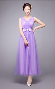 Ankle-length Satin / Tulle Bridesmaid Dress-Lilac / Champagne / Watermelon / Sky Blue A-line V-neck