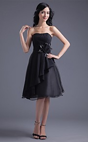 Cocktail Party Dress A-line Strapless Knee-length Chiffon
